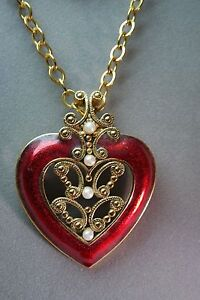 Avon Vintage BIG Bold RED Enamel Pearl Heart Necklace ...