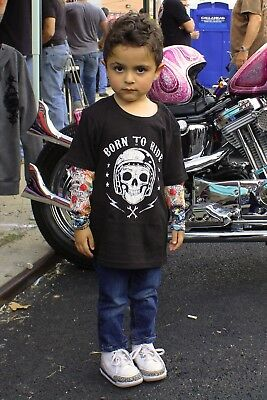 Toddler Tattoo Sleeves (TODDLER KIDS LONG SLEEVE T-SHIRT TATTOO SLEEVES BORN TO RIDE SKULL 2T 3T)
