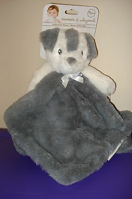 Blankets & Beyond grey dog bear baby Security Blanket Plush Lovey gray white NEW