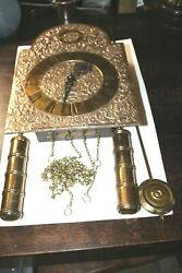 German AMS 150 Hanging Wall Clock Strike Weight Driven Brass Ornate Cherub 23cm