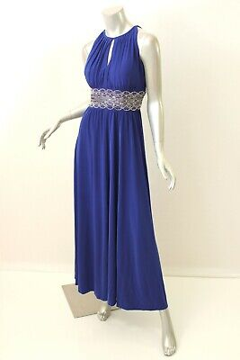 R&M RICHARDS Royal Blue Beaded Matte Jersey Gown 12P $119