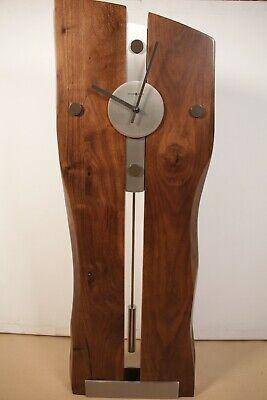Howard Miller 620-508 Enzo Wall  Modern Clock w Pendulum - Natural Walnut Finish