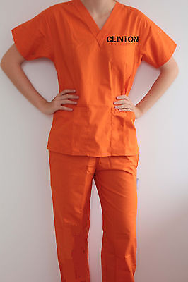 Funny Hillary CLINTON INMATE Convict Outfit Halloween Costume Cosplay political](Halloween Costumes Political Funny)