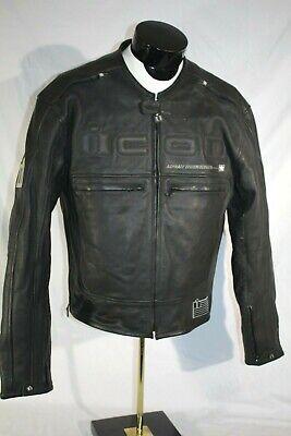 ICON Motorhead Leather Cafe Motorcycle Jacket ,Mens Large, Black