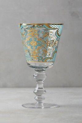 Goblet Gold Trim - NWT Anthropologie PATINA VIE Bellisimo Goblet, BLUE with Gold Trim