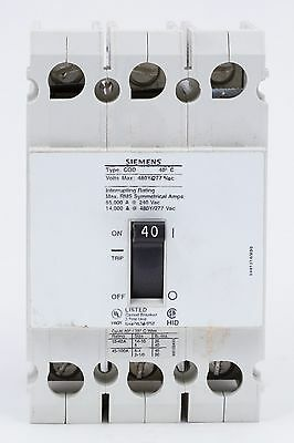 Siemens Cqd340 3 Pole 40 Amp 480vac Circuit Breaker Used No Box
