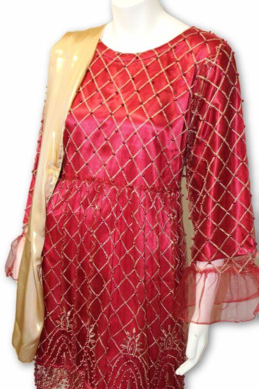 D12 Pakistani Indian Women Embroidered Organza Formal Dress