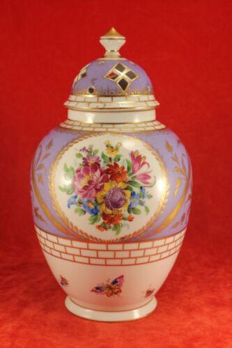 Antique Carl Thieme - Purple Vase or Jar with Reticulated Lid - Floral Design