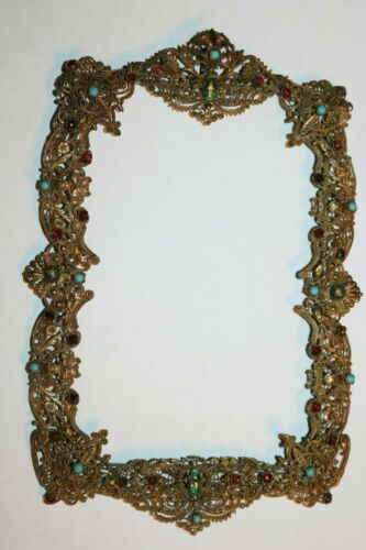 Antique Brass Filigree Picture Frame With Jewels