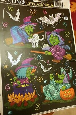 1 page Vintage Holographic Color Clings Witches Halloween Window Clings  #11