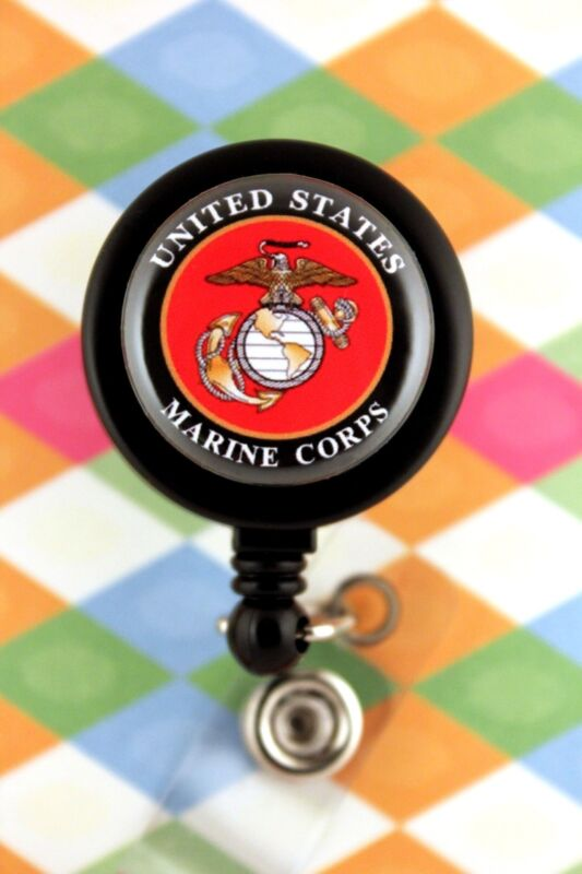 Retractable Badge Reel Name Tag Pull ID Holder Military USMC Marine Corps gift