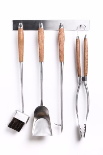 HANSA PREMIUM Fireplace Tools Set (4 parts) & Wall Hanger STAINLESS STEEL