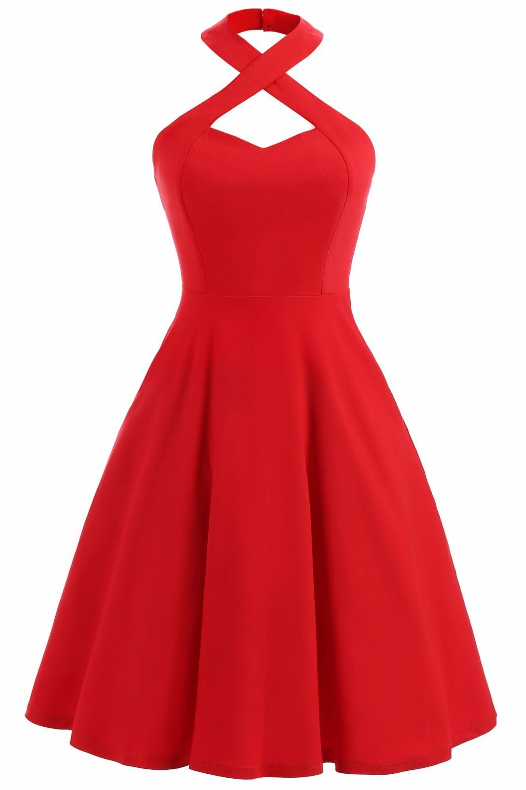 Gigileer Damen Kleid Retro Vintage Rockabilly Cocktail Partei Rot ...