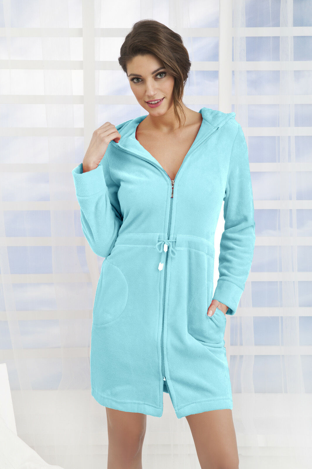 new womens cotton dress style bath robe housecoat dressing. Black Bedroom Furniture Sets. Home Design Ideas