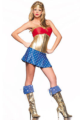 Be Wicked L/XL Superhero Sexy Halloween Bedroom Costume Red White Blue Gold  (Superhero White Costume)