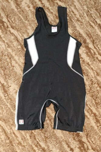 BRUTE Wrestling Singlet Adult Medium Jersey tournament Gear made in USA black/wh