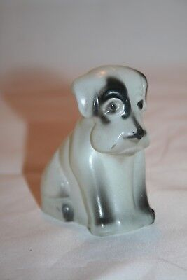 Vintage Federal Glass Mopey Dog Candy Container Frosted Paint White Black Spots