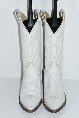 JUSTIN L4203 WOMENS 5.5B WHITE LEATHER POINTED TOE CLASSIC WESTERN COWBOY BOOTS