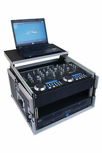 6/10 HE WINKELRACK L-Rack DJ-Case mit  Laptop Ablage NOTEBOOK PA WOW Mixer NEU