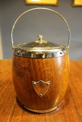 Vintage wooden ice bucket chrome edging