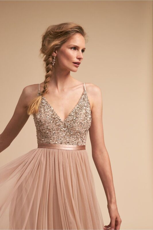 BHLDN Avery Formal Gown, Size 6, Color: Blush