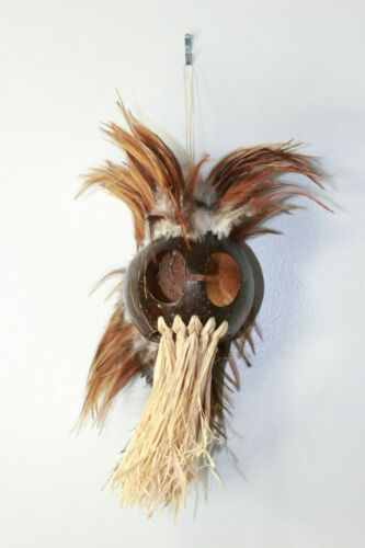 Large Ikaika Warrior Helmet Dark Coconut Mask Open House Staging Decor Hawaiian