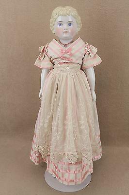 "21"" antique German Alt Beck ABG Highland Mary china shoulder head Doll"
