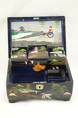 Vintage Japanese Black Lacquer Abalone Hand Painted Music Jewelry Box