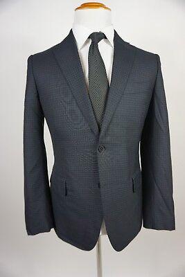 Eidos Balthazar Slim Fit Gingham Blue Suit 38R  34X30  Dark Gray Wool  Flaw