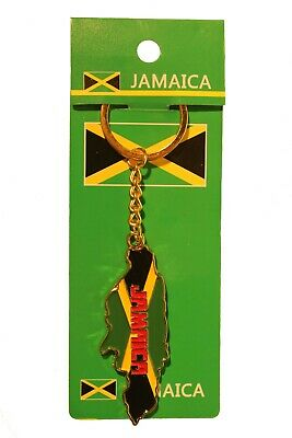 JAMAICA Flag Country Shape METAL KEYCHAIN .. New
