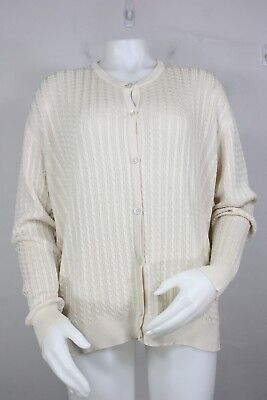 Burberry 100% silk cardigan sweater L cable-knit white new made in Italy