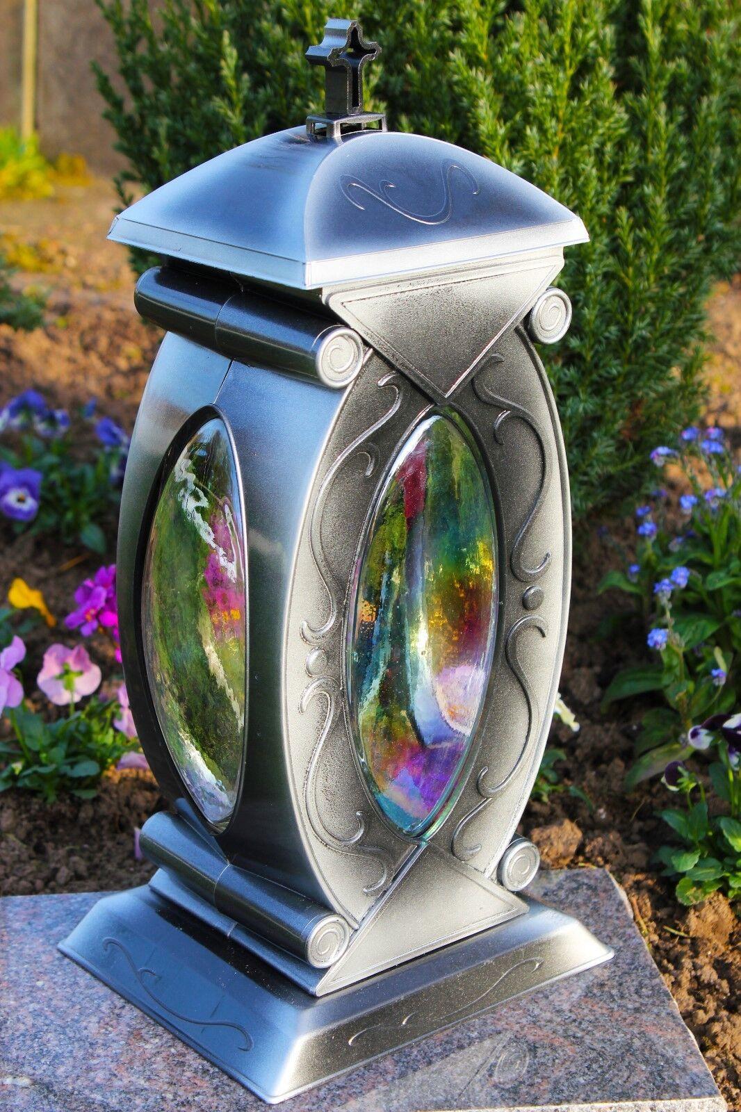 Grablicht 43cm + Kerze Grablaterne Grableuchte Glas Grabschmuck Garten Silber 01