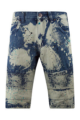 New Men Denim Premium Jean Shorts Pain Splattered White Jeans Sizes -