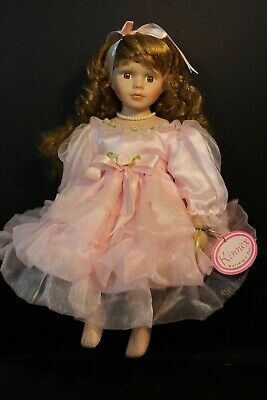 Kinnex Porcelain Doll - ZOE - Light Brown Hair in Pink Party Dress - Sitting