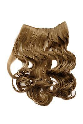 Haarteil Flip-In Extension Halbperücke breite Haarextension lockig Dunkelblond