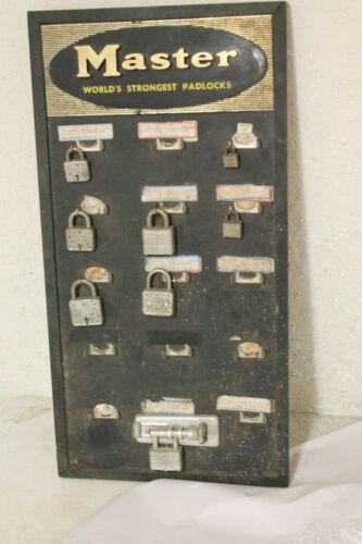 Vintage MASTER Lock HARDWARE STORE Advertising PLASTIC Padlocks Display SIGN