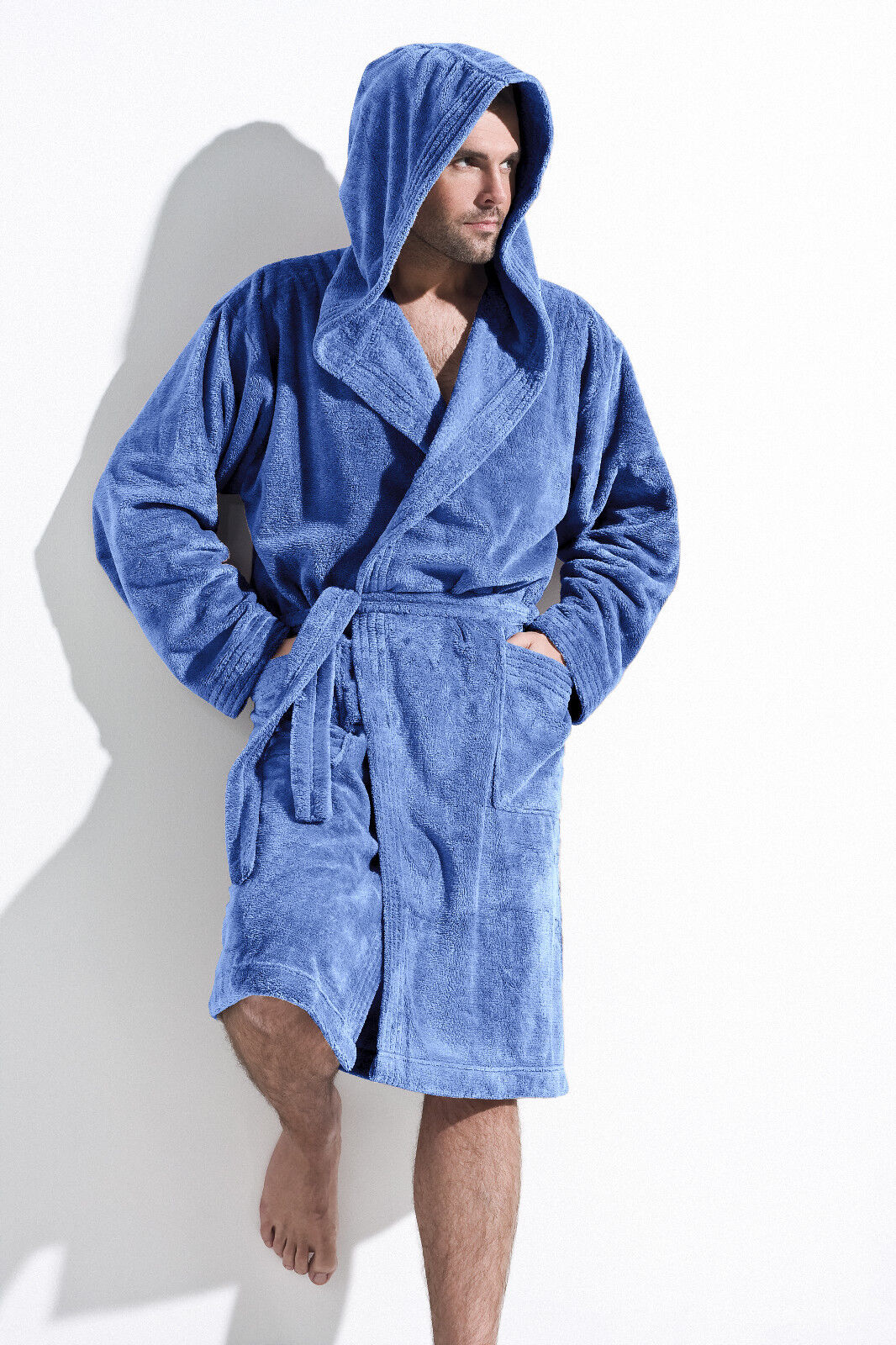 Mens Luxury Knee Length Dressing Gown Bathrobe with Hood, Robe Size ...