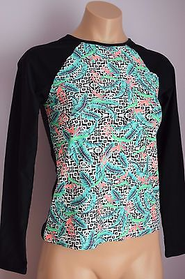 NWT Hula Honey Swimwear Cover up Rash Guard Top Shirt Long Sleeve Sz XS BLK Love Long Sleeve Rash Guard