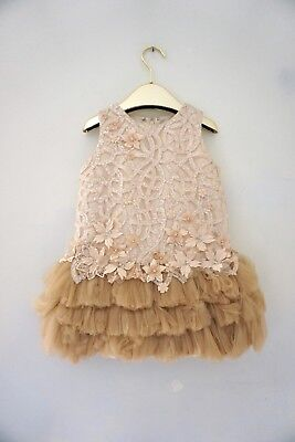 Mishka Aoki Luxury Couture Girls Party Embroidered Dress Size 5 $1250