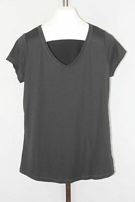 Xersion Ladies Womens Brown Gray Activewear Short Sleeve V-Neck Top Size LT