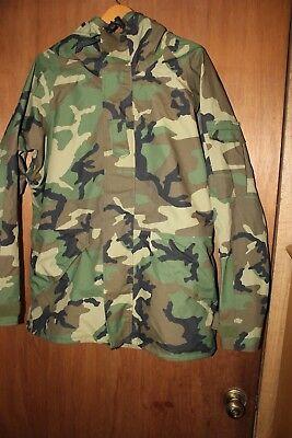 US Military BDU Woodland ECWCS Camo Gore-Tex Parka Jacket Size Medium Long G1