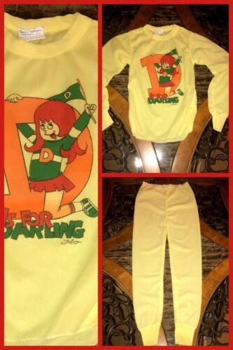 Vintage Girls Pajamas Thermal 2 Piece Top Pants Yellow Long Sleeve 1970s Sz 14