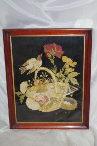 Antique Exquisite Bird Basket Flowers Textile Art Chenille Hand Crewel Framed