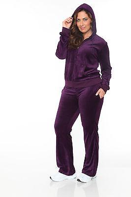 Purple Women's Plus Size Velour Zip Up Hoodie & Sweat Pants Set Jogging Suit (Velour Jog Pants)