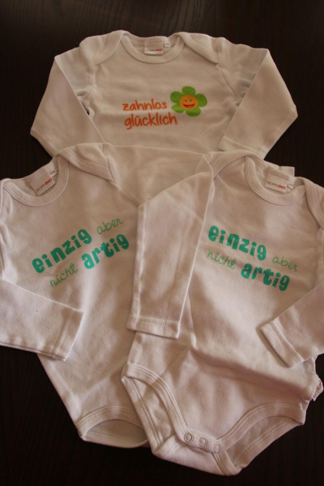 3 Baby Langarmbodys mit coolen Sprüchen Gr. 74/80