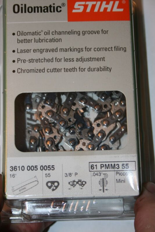 Stihl Brand 16 inch Chain for chainsaw bar 3/8 Pitch .043 Gauge 55 drivers