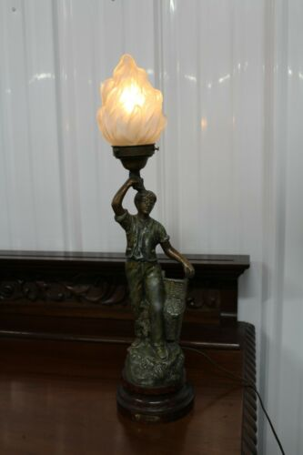 Antique bronze colored sculpture newel post lamp spelter lighted torch glass