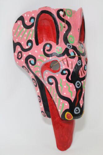 VTG Hand Carved Wooden Guatemalan Animal Folk Art Dance Mask Dog Hyena Jackal