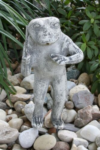 Vintage Garden Frog Statue Water Fountain Spitter Band Conductor Aluminum LQQK!