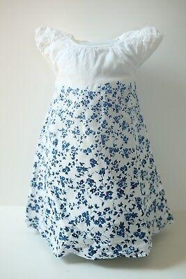 2-Set Baby Sommerkleid weiß mit blauen Blumen von Topomini Gr.80 + Schuhe Gr.22 (Weiße Baby-sommer-kleid)